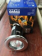 One Electrical 12v MR16 Fire Rated Fixed downlights Polished Chrome + 50w bulb