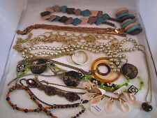 Huge VINTAGE NECKLACE LOT 1960's 1970's costume retro hippie peasant mid century
