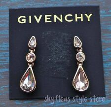 Givenchy Earrings Teardrop Champagne Gold Plated Rose Faceted Glass Stone Drop