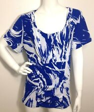 Alfani Woman Blue White Short Sleeve Ruched Front  Blouse Top Plus Size 3X NWT