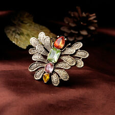 Vintage Gold Colorful Glass Stone Butterfly Pin Brooch