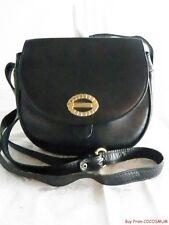 Vtg Lancel Paris Italian Black Leather Shoulder Bag Purse Big Bold Gold Logo