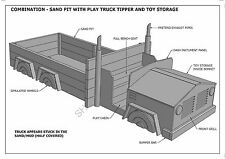 TRUCK SAND PIT & TOY STORAGE COMBO - CUBBY HOUSE - Building Plans V1 - UNIQUE