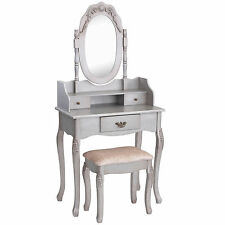 Beautify Silver Vintage Dressing Table Bedroom Makeup Desk Stool & Mirror Set