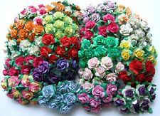 100 MIXED MULBERRY PAPER ROSE FLOWER ARTIFICIAL WEDDING SCRAPBOOK GIFT CARD 1.5
