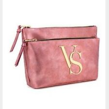 Victoria's Secret Gold VS DOUBLE ZIP BAG Makeup Cosmetic Case Metallic Rose Pink