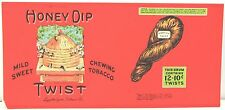 """Honey Dip Twist Chewing Tobacco Container Label 7"""" x 14"""" Great Colors"""
