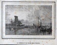 Stampa antica SCHELDA SCHELDE mulino Olanda 1835 Old antique print Nederland
