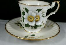 Clifton English Bone China Teacup and Saucer White Flowers