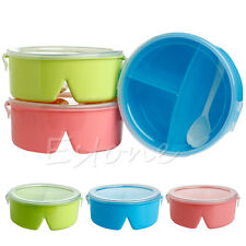 Portable Round Microwave Lunch Box Picnic Bento Food Container Storage + Spoon