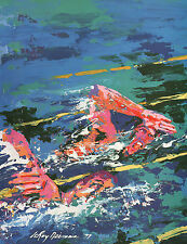 LEROY NEIMAN BOOK PLATE PRINT COMPETITIVE SWIMMERS MONTREAL OLYMPIC GAMES 1976