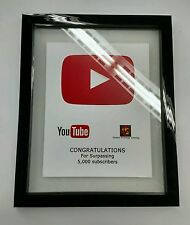 Customizable YouTube Replica Play Button Sub Award Faux Frame Picture