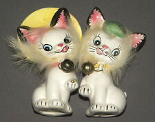 Vintage 1970's White Cat Salt & Pepper Shaker Set 2 Shakers Commadore w Bells
