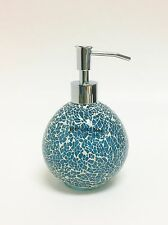 NEW WEST LAKE TEAL BLUE GREEN GLASS MOSAIC SPHERE BATHROOM SOAP DISPENSER