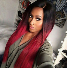 New Fashion Long Straight Ombre Color Black/Red Synthetic Hair Women's Full Wigs