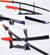 1095carbon steel Clay Tempered black and red Blade Japanese Samurai Sword Katana