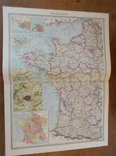 Antique couleur c1904 carte de l'ouest de la france de Harmsworth atlas