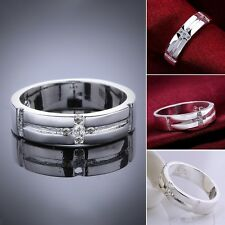 Hot Women Men 925 Silver Plated CZ Charming Ring Size 8 NF
