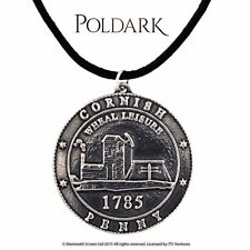 St Justin Poldark Cornish Tin Wheal Leisure Penny Pendant Leather Thong Necklace