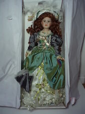 """VICTORIAN DOLL""  RED HAIR GREEN EYES GREEN DRESS WITH PARASOL AND HAT"