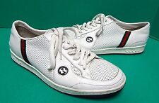 Gucci White Perforated Leather GG Sneakers Red Green Stripe 8 G