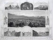 Oeder: Original Stahlstich Brüx Most Tschechien Souvenirblatt; 1859