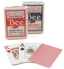 2 Decks Bee Jumbo Index Poker Playing Cards Red & Blue New Deck Casino Quality