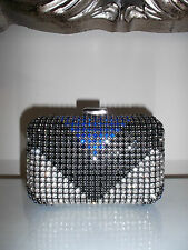 ZARA Black Cobalt Blue Silver Diamante Crystal Studded Box Clutch Bag  Chain NEW