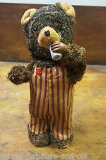 VINTAGE JAPANESE CLOCKWORK DRINKING BEAR MADE BY ALPS - FREE UK POST