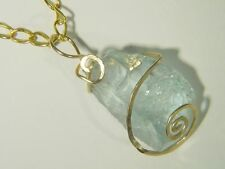 BUTW 14k Gold Filled Hammered Wire Wrap Raw Natural Aqua Marine Pendant 107E tle