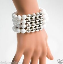 Bat-Ami Sterling Silver Stretch White Agate Bracelet BRN144