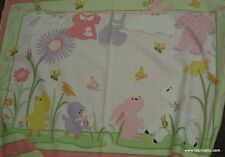 Emma Louise girls crib quilt panel pink green flannel fabric - Sweet