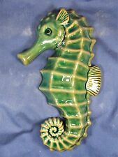 Sea Horse sea life porcelain decor wall art hanging green