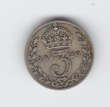 1920 Great Britain Silver Threepence Coin  S-618