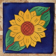 "10~Talavera Mexican 4"" tile pottery Sunflower + 12 pencil trim cobalt Blue 4 in"