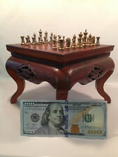 CHESS SET STERLING  AND BRONZE PIECES WOOD ASIAN BOARD