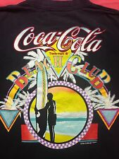 Vintage Coca-Cola Beach Club 2-sided T Shirt coke Sunset Beach Surfer Florida