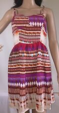 As U Wish Dress Colorful Abstract Print Smocked Sundress Corset Style - Small