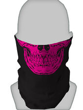 PINK SKULL BLACK DESIGN FACE MASK  FACE DESIGN SNOOD NECKTUBE SCARF MOTORBIKE