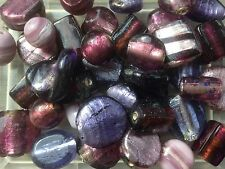 8-18mm assorted purple foiled lampwork glass beads - 250g pack (55 beads)