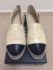 NIB CHANEL Leather Lambskin Espadrilles Beige/Black Size 38 Double Sole