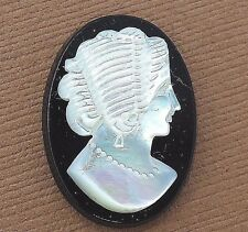 Vintage ART DECO CARVED MOTHER OF PEARL & ONYX LOOSE CAMEO finding