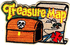 """""""TREASURE MAP"""" w/Chest & Skull- Iron On Embroidered Patch/Children, Games,Fun"""