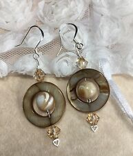 Mala Mother Of Pearl Silver Drop Earrings W/Swarovski Elements & Shells USA