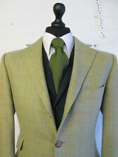 Bladen moss green red herringbone check wool tweed suit blazer jacket 40R