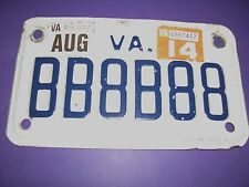 VA PERSONALIZED  MOTORCYCLE LICENSE PLATE,  BB8B88 2014