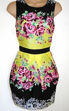 SIZE 12 14 FLORAL SUMMER DRESS TULIP SKIRT COCKTAIL WEDDINGS PARTY. US 10 EU 42