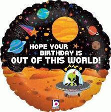 """18"""" globo de la hoja """"Esperanza tu cumpleaños está fuera de este mundo"""" Espacio Alien Planetas"""