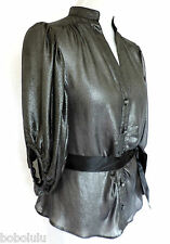 Gorgeous RIVER ISLAND Silver Grey LAME Blouse Top ROMANTIC Evening PARTY 12