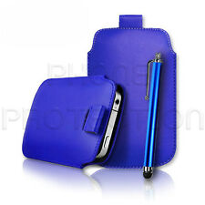 QUALITY LEATHER PULL TAB CASE COVER HOLSTER & STYLUS FOR VARIOUS MOBILE PHONES